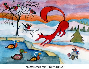 winter landscape with wild animals, Russia  in afternoon