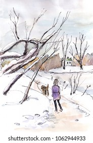 winter landscape, woman walking with dog