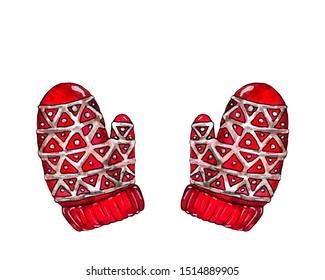 Winter mittens. Red mittens with a pattern. Mitten glove. Santa gloves.