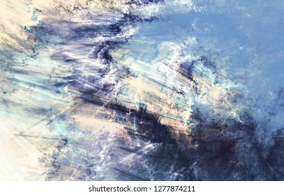 Winter morning. Cold blue winter pattern. Abstract painting soft color texture. Bright modern artistic motion background. Fractal artwork for creative graphic design