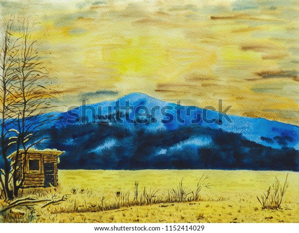 Winter mountain landscape. A snow-covered field with trees and a mountain in the background. In the foreground stands the shepherd's hut. Sunset, cloudy. Watercolor painting on paper.