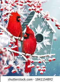 Winter new year christmas background, two birds of a tit red cardinal sit on snow-covered branches, burgundy berries, house for a feeder, mixed media, 3D rendering