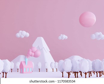 winter  new year concept. snow mountain cartoon background 3d rendering.