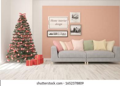 Winter new year interior of living room with sofa. Scandinavian design. 3D illustration