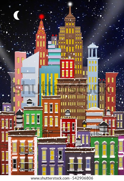 Winter in New York. New Year's card