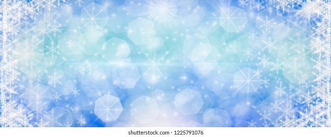 Winter outdoor with falling snowflakes, Panoramic web banner horizontal, with snow background, bokeh And glittering, Concept of celebration and beauty of be frozen