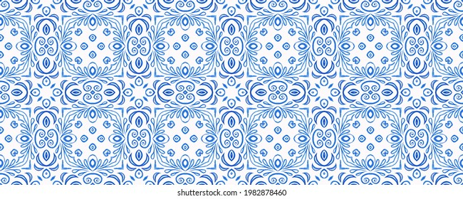 Winter pattern. Portuguese tiles azulejos. Bright ethnic design. Turquoise spain. Tile graphic. Snow transparent effect.  Damask hand drawn floral design. Abstract seamless ornate watercolor pattern.