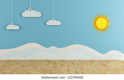 winter playroom with decoration on wall - 3D rendering