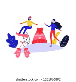 Winter poster with flat girl in headphones ice-skating, man snowboarding outdoors in winter on background of knitted hat, mittens snowflake and abstract florals. Female character and sport.