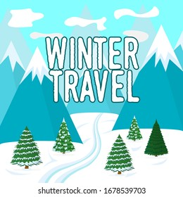Winter Poster. Natural Landscape Concept. Greeting Winter, Christmas and Xmas Card. Symbol, Logo and Badge for Web Banners. Cartoon illustration.