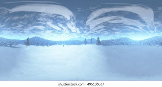 Winter Praire Scene with Pine Forest in the Background VR360 3D Illustration
