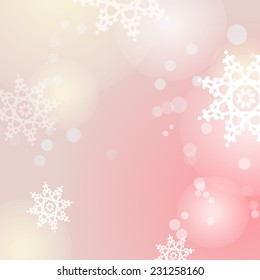Winter raster pink background with snowflakes and bokeh lights
