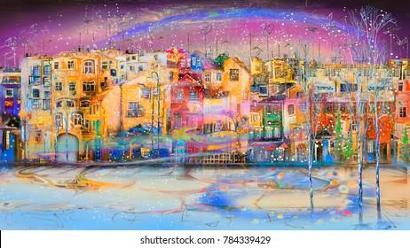 Winter resort town near the sea