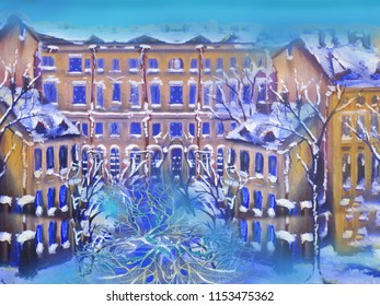 Winter russian cityscape. Oil painting artwork.