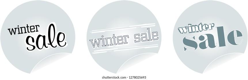 winter sale sticker set