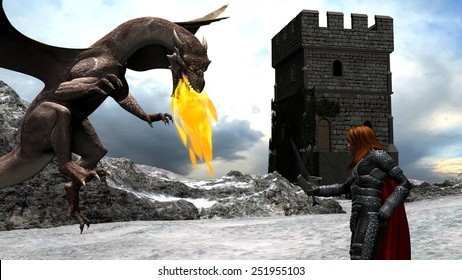 Winter Scene of a Brave Knight Fighting with a Dragon in front of a Castle