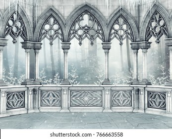 Winter scene with an ornamented gothic windows, snowy shrubs, and icicles. 3D illustration.