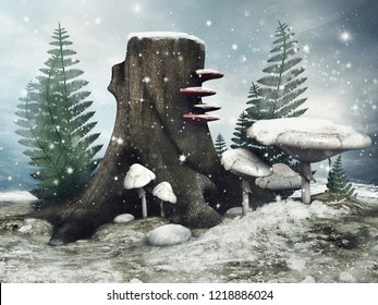 Winter scene with a tree, mushrooms and fern on a snowy meadow. 3D illustration.