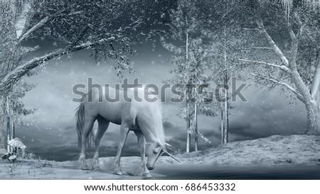 f3375f13722b Winter Scene Unicorn Creek Trees 3 D Stock Illustration 686453332 ...
