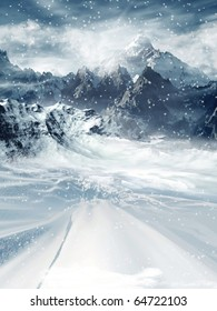 Winter scenery with mountains and a road