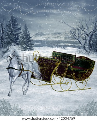 6d379516b075 Winter scenery with a vintage sleigh and a white horse - Illustration