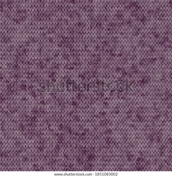 Winter seamless knitted shabby and melange pattern, purple. Decorative festive background for printing on various media.