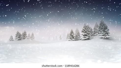 winter seasonal landscape scenery at snowfall at evening, snowy calm nature 3D illustration render