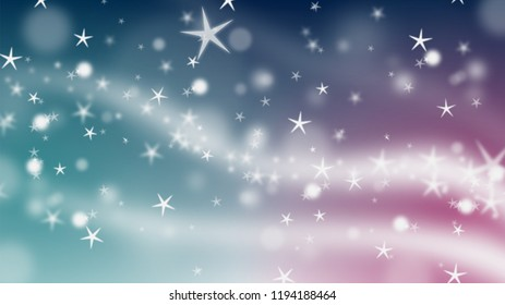 winter sky with a lot of stars and snowflakes, for backgrounds