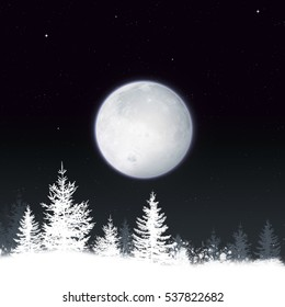 winter snow christmas background with full moon and forest