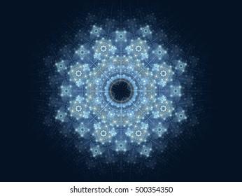 Winter, snow, frosty fractal pattern on a dark blue background