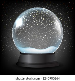 Winter Snow Globe With Black Background