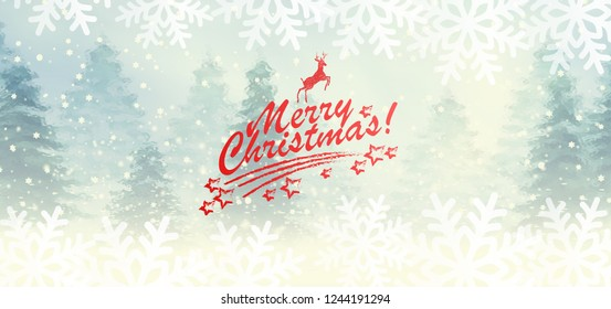 Winter snowy landscape with hand lettering of Merry Christmas and deer