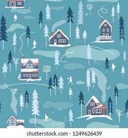 Winter snowy landscape with houses, trees and people, seamless pattern. Endless winter activity background