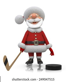 Winter sport for cheerful Christmas/Santa Claus hockey player