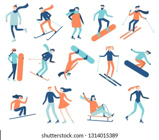 Winter sport people. Sportsman on snowboard, skis or ice skates. Snowboarding, skiing and skating sports. Snowboarder jump, healthy family holiday vacation isolated flat  isolated icon set