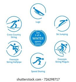 Winter sports icons set, 2 of 4, pictograms for web, print and other projects. 6 olympic species of events