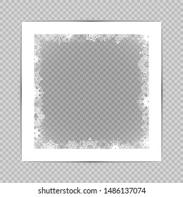 Winter square photo frame with Snowflakes and shadow on transparent background. Winter blank holidays border template