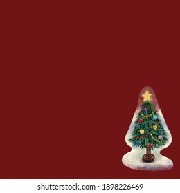 The winter sticker is located in the corner of the red square background. The sticker features a nice painted Christmas tree. The tree is beautifully decorated with balls and a glowing star.