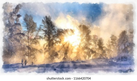 Winter sunny day, the sun shines through the trees. Watercolor. Digital structure of painting