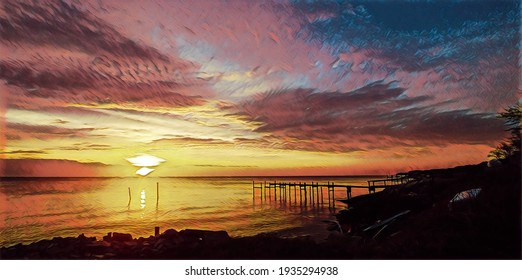 Winter sunrise, Chesapeake Bay and fishing pier, illustration