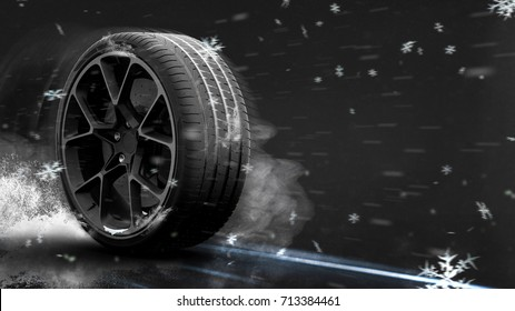 Winter tire (with grunge/snow overlay) - 3D Illustration