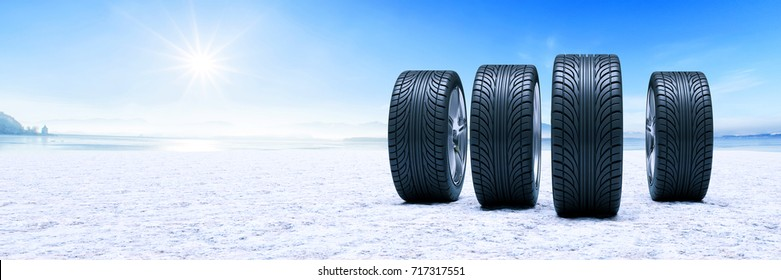 Winter tires on snow as panorama background (3D Rendering)