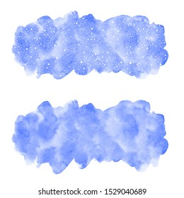 Winter watercolor background, dot snowflakes or falling snow texture. Rounded rectangle banner shape, uneven edge, sky blue watercolour stains. Christmas, New Year, water hand drawn paint text frame.