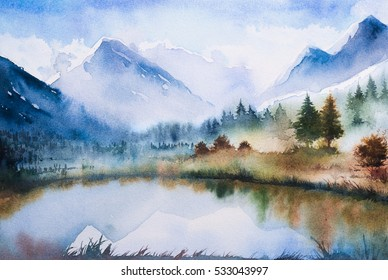 Winter watercolor landscape.