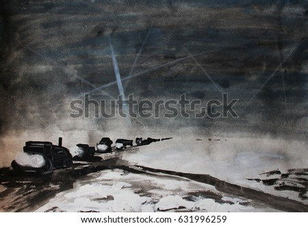 8b588eebe Winter woad, world war two, victory day, hand drawing watercolor  illustration