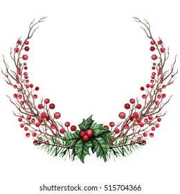 Winter Wreath with Watercolor Dry Branches, Holly and Red Berries