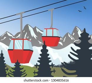 a winterlandscape with red ski gondolas