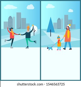 Wintertime poster happy couple dancing on skates, having fun together, mother and son walking with pet raster winter activities near skyscrapers