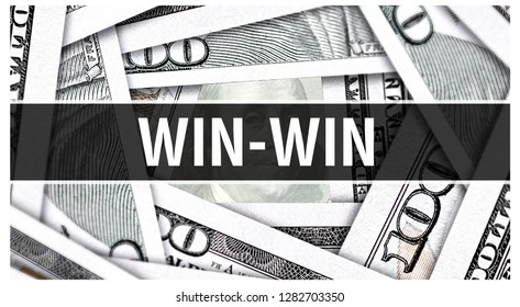 Win-win Closeup Concept. American Dollars Cash Money,3D rendering. Win-win at Dollar Banknote. Financial USA money banknote Commercial money investment profit concept