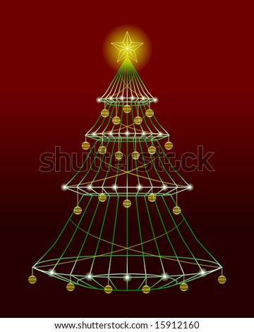 wire christmas tree with lights and ornaments vector version also available